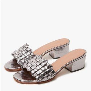 RACHEL COMEY Pentz Galina Silver Slides Mules 7